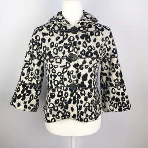Marc Cain   100% Virgin Wool Leopard Print PeaCoat